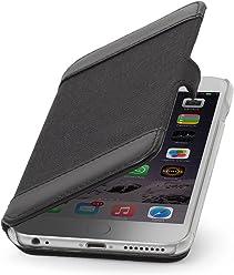 StilGut Book Type, Housse en Cuir et Textile pour Apple iPhone 6 (5.5 Pouces), Noir