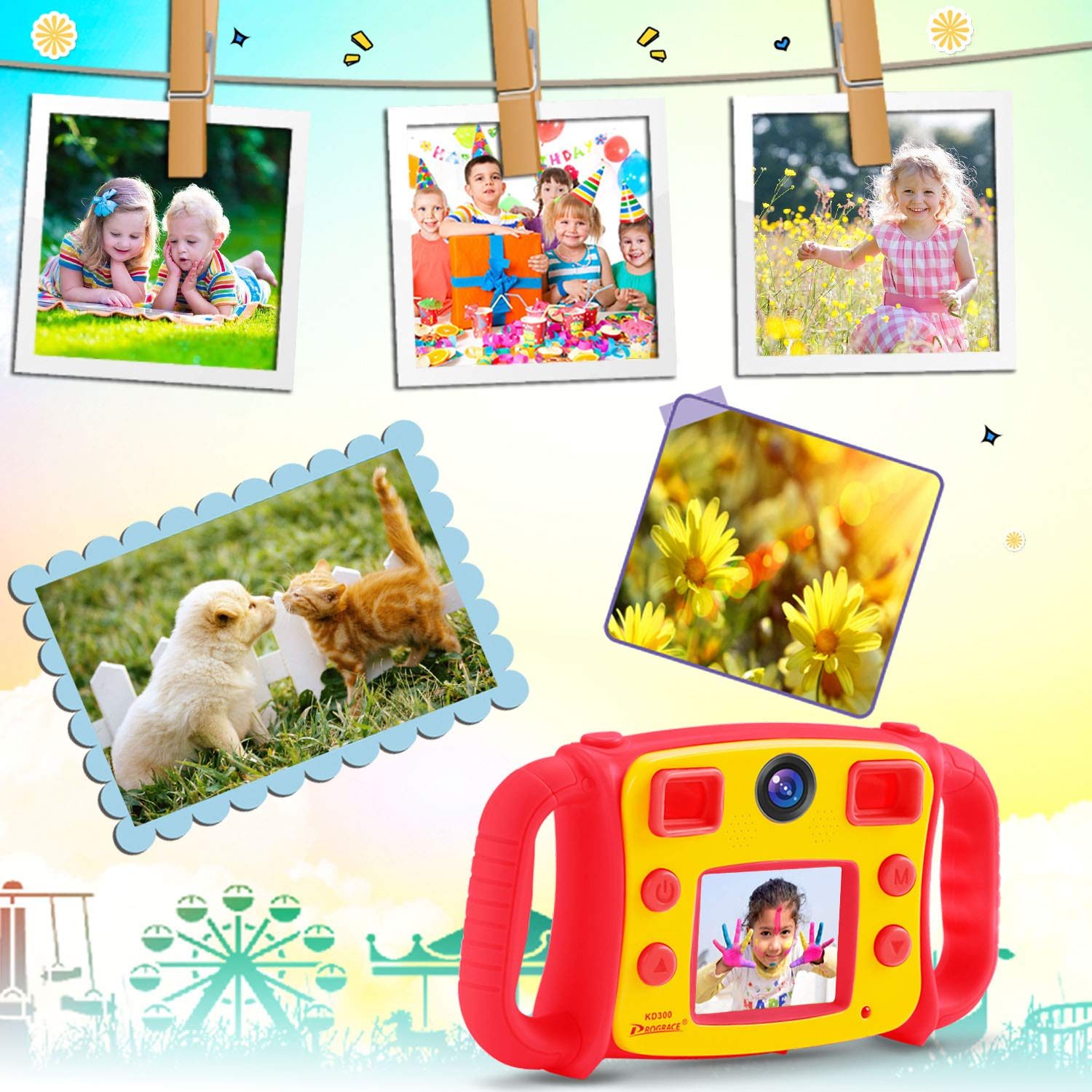 Prograce Kids Camera Dual Camera Selfie Digital Video Camera Camcorder for Boys Girls with 4X Digital Zoom, Flash Light and Funny Game(Red) by Prograce (Image #5)