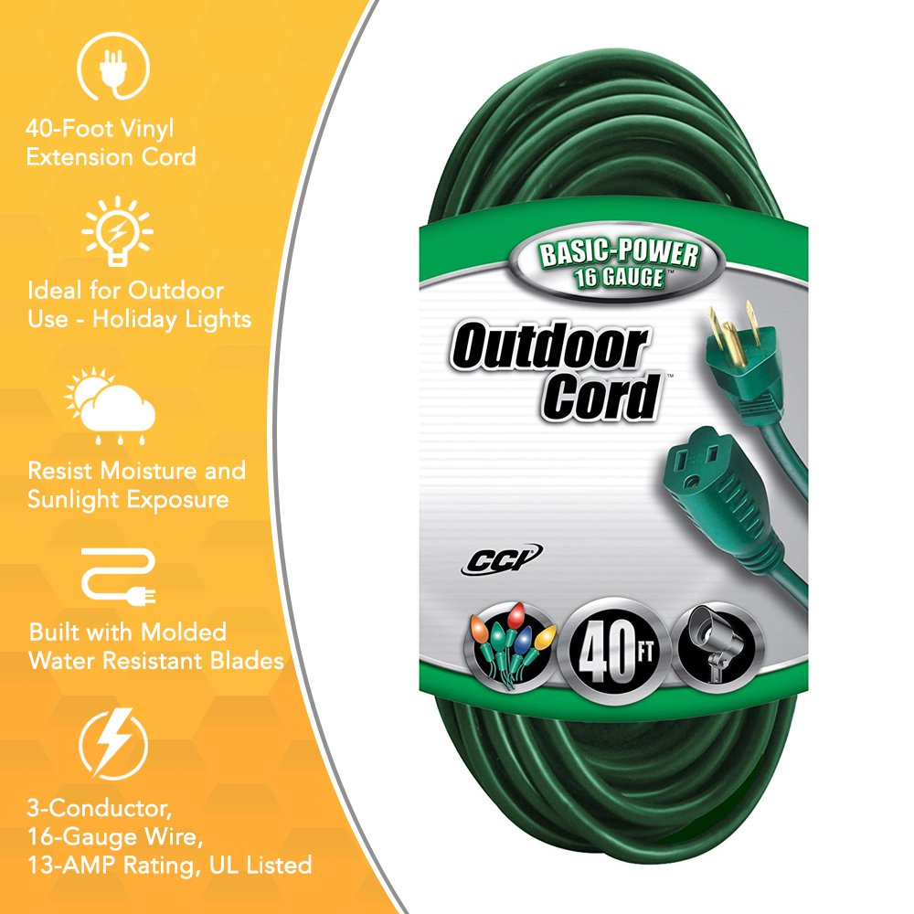 Coleman Cable 2356 16/3 Vinyl Landscape Outdoor Extension Cord, Green, 40 Foot by Coleman Cable (Image #3)