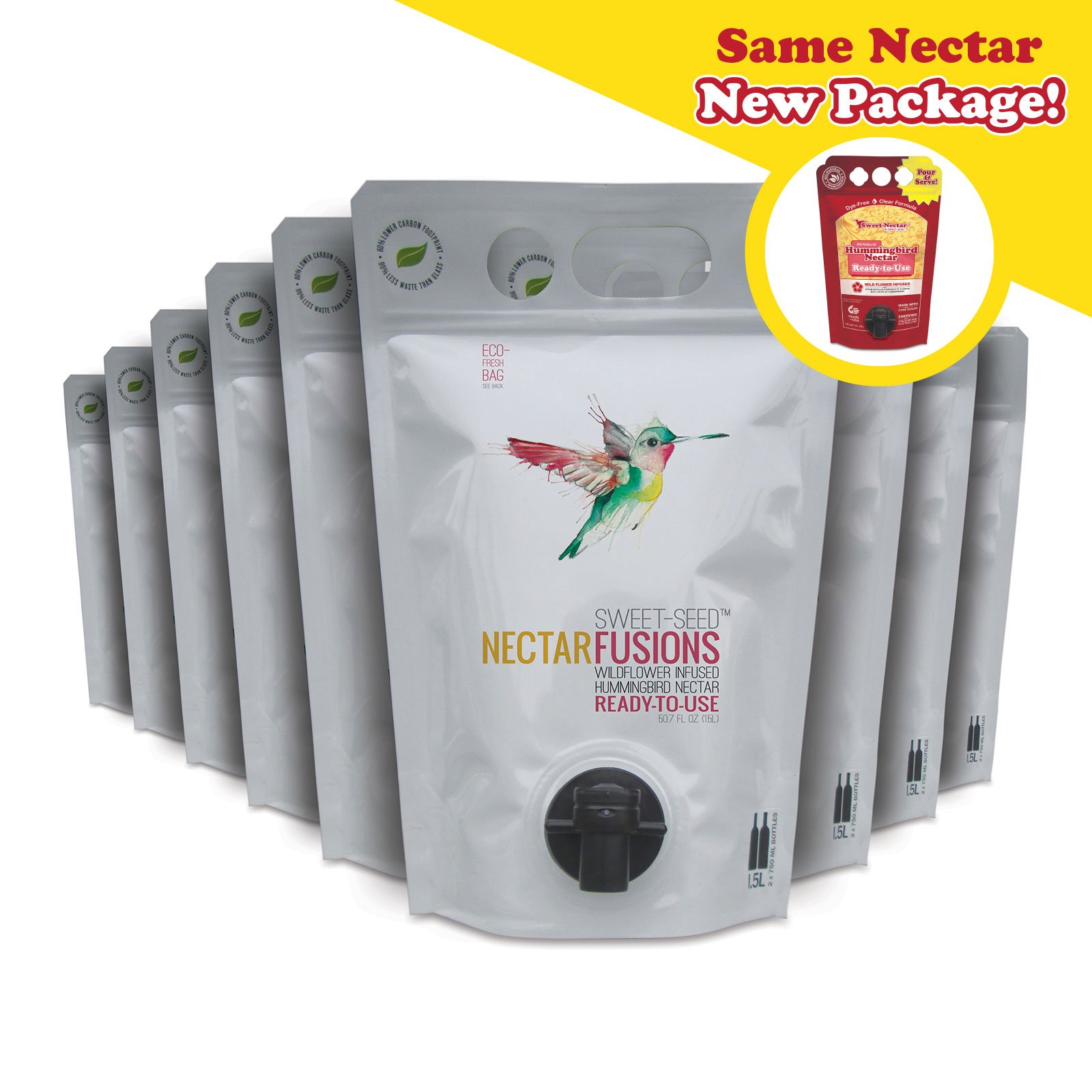 Sweet-Seed, LLC Nectar Fusions Hummingbird Food: [9-pack] All-natural & Dye Free, Wildflower Infused Hummingbird Nectar (450 oz. Ready-to-use Formula)
