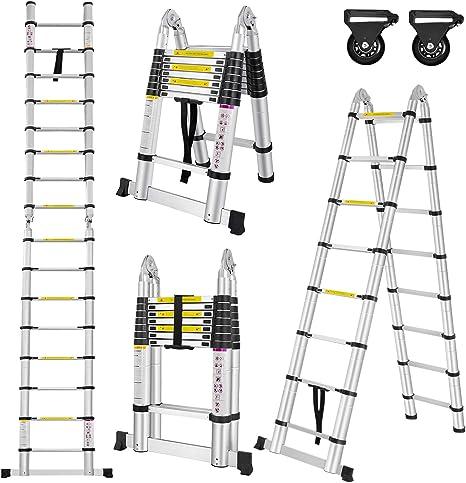 2.5M+2.5M 5m TELESKOPLEITER ANLEGELEITER KLAPPLEITER ALU BOCKLEITER 500cm
