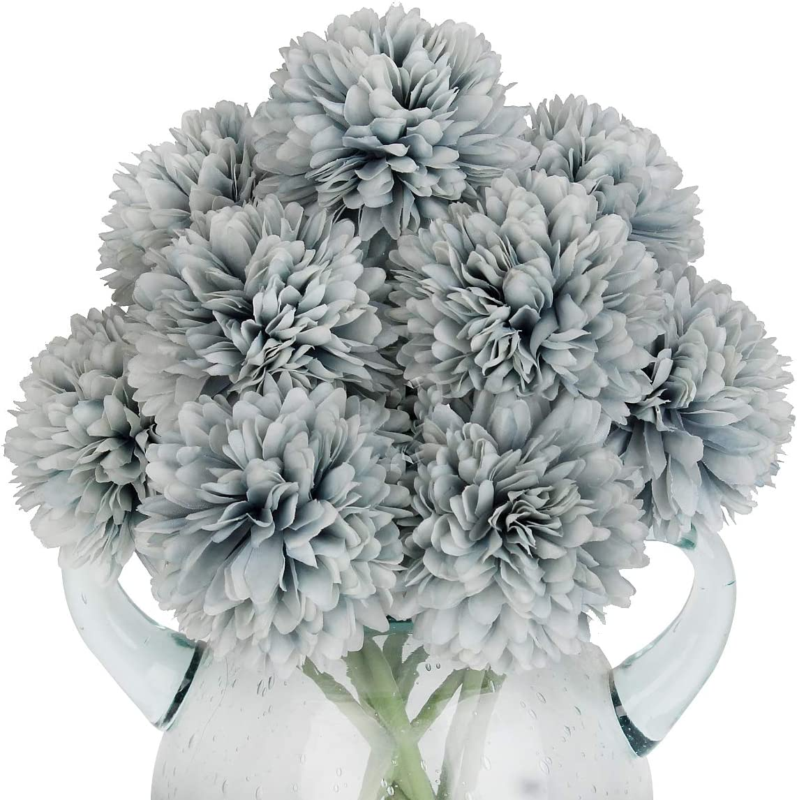 Louiesya Artificial Flowers, 10Pcs Fake Flowers Silk Artificial Chrysanthemum Ball Hydrangea Bridal Wedding Bouquet for Home Garden Party Wedding Decor (Gray Blue, 10 Pcs)