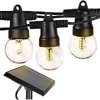 Brightech Ambience Pro - Waterproof Solar LED Outdoor String Lights - 1W Retro Edison Filament Bulbs - 27 Ft Globe…