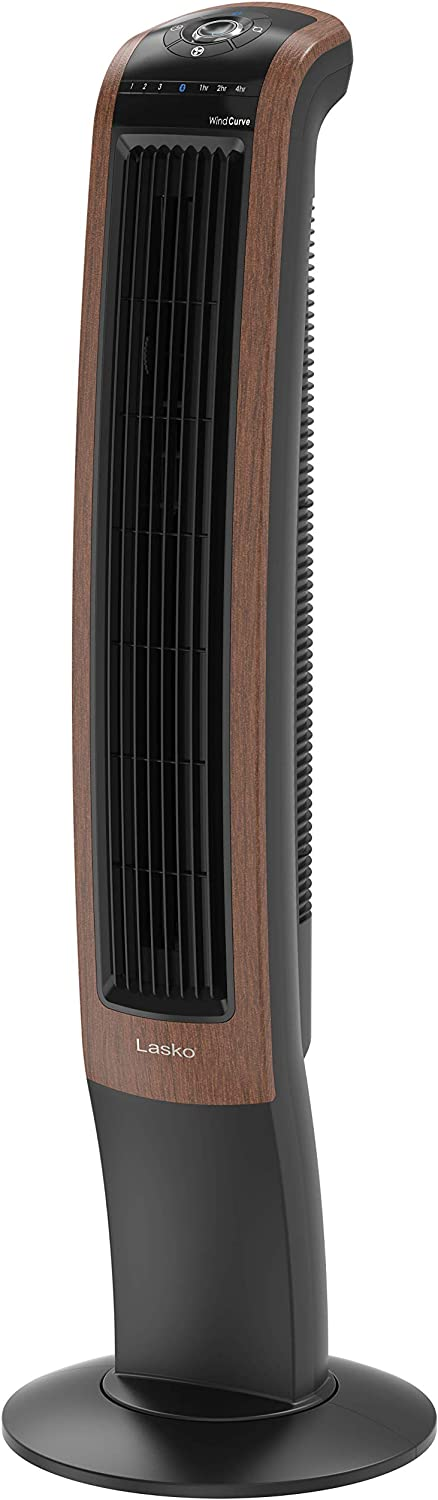 "Lasko Wind Curve Electric Oscillating Tower Fan with Bluetooth Technology for Indoor, Bedroom and Home Office Use, 42"", Blackwood T42905"