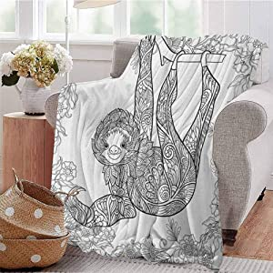 Luoiaax Sloth Bedding Microfiber Blanket Outline Drawing of Sloth in Jungle Zoo Animal with Ornamental Details and Flowers Super Soft and Comfortable Luxury Bed Blanket W91 x L60 Inch Black White