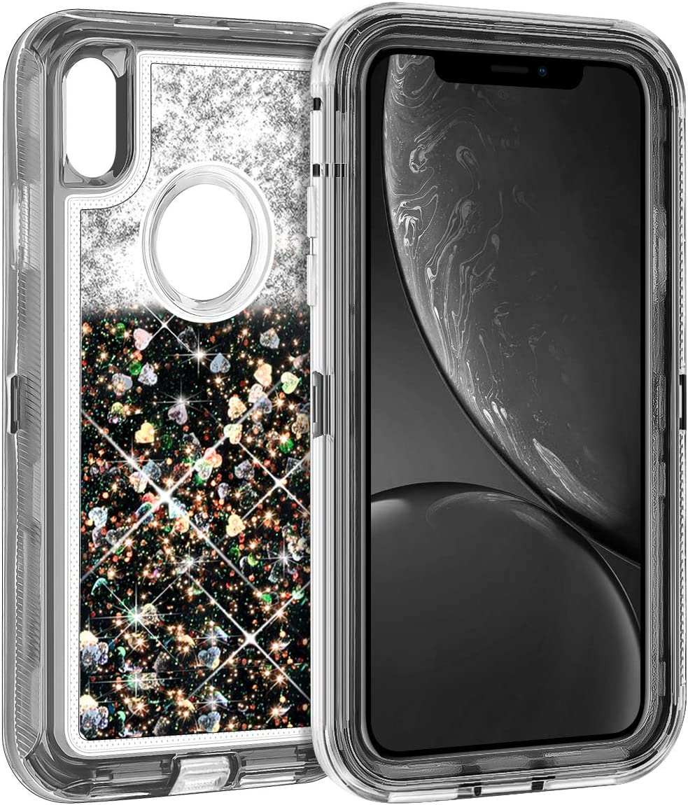 Amazon Com Coolden Case For Iphone Xr Cases Protective Glitter Case For Women Girls Cute Bling Sparkle Heavy Duty Hard Shell Shockproof Tpu Case For 6 1 Inches Apple Iphone Xr 10r Black