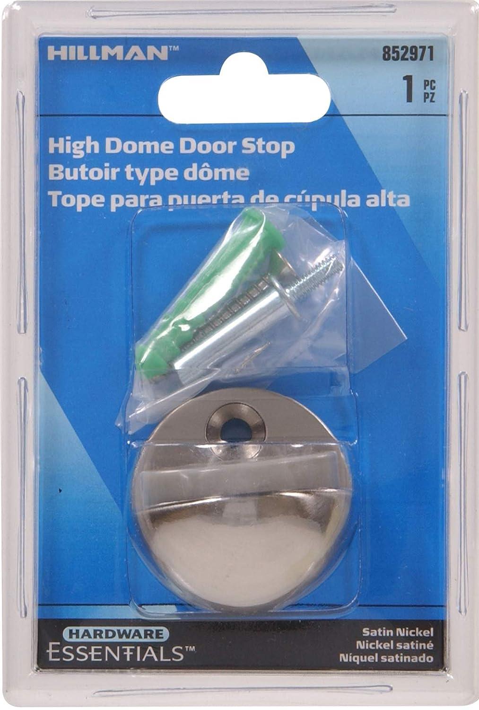 Hillman Hardware Essentials 852971 High Dome Floor Door Stops Satin Nickel 1//2-1 Clearance
