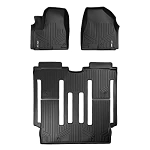 SMARTLINER Floor Mats 2 Row Liner Set Black for 2015-2018 Kia Sedona 8 Passenger Model Only