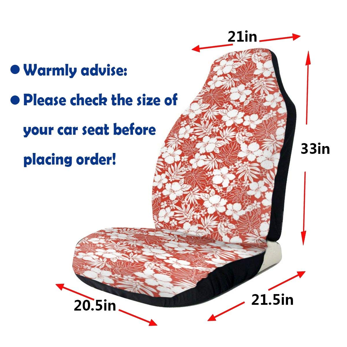 GULTMEE Car Front Seat Covers Vehicle Protector Mat Covers,Hawaiian Hibiscus Florets Bouquet Summer Petals Exotic Beauty Wildflowers Print,Fit Most Cars,Sedan,Truck,SUV