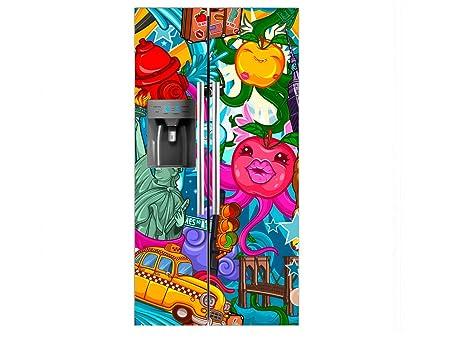 Vinilo Frigorífico Americano Caricatura Nueva York | 90x180cm ...
