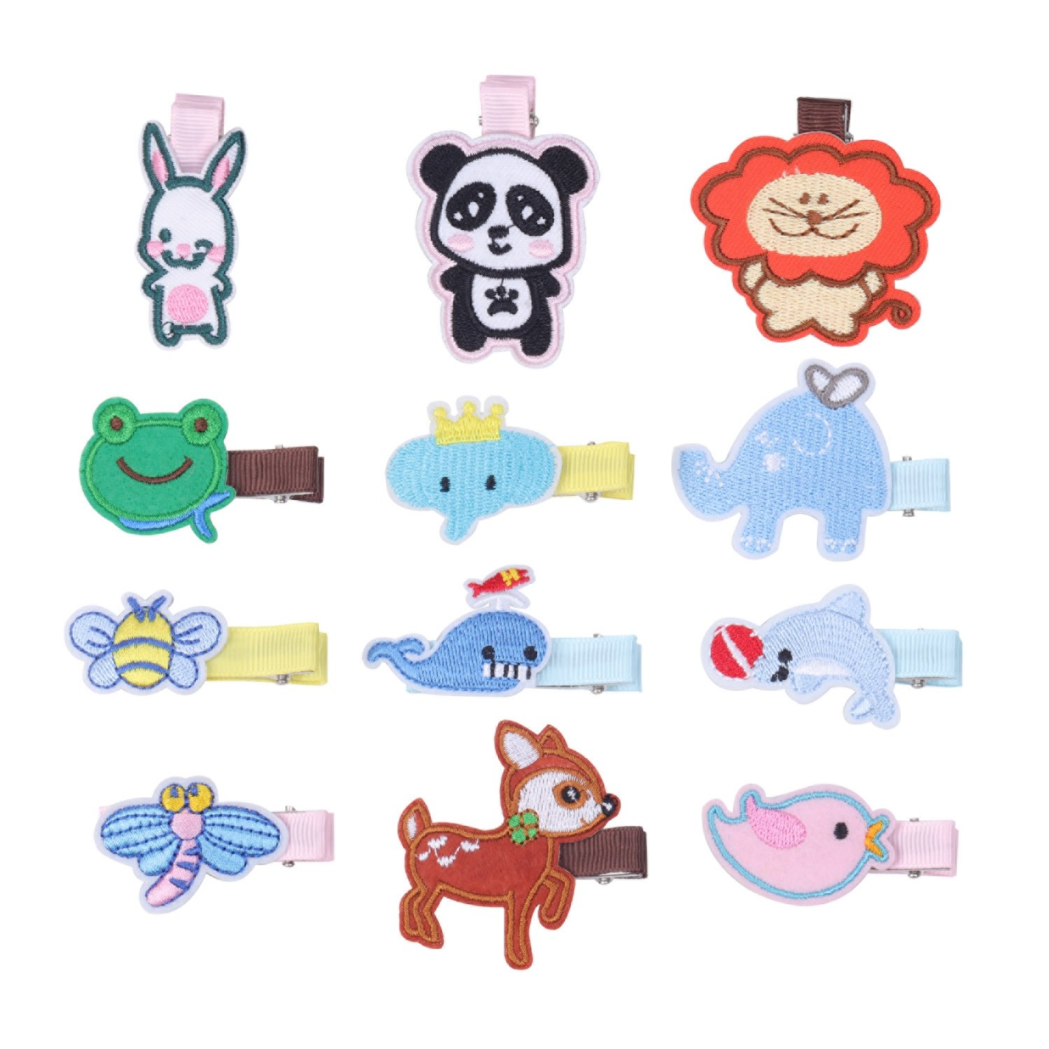 KOONY Boutique Baby Girls Hair Clips Cartoon Embroidered Patches Barrettes 12pc XJ038