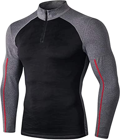 Sillictor 1/4 Zip Thermal Base Layer Mens Long Sleeve Running Top  Compression Tops Mens T Shirts for Sports Cycling Hiking Skiing Base Layers  High Wicking Breathable Quick Dry: Amazon.co.uk: Clothing