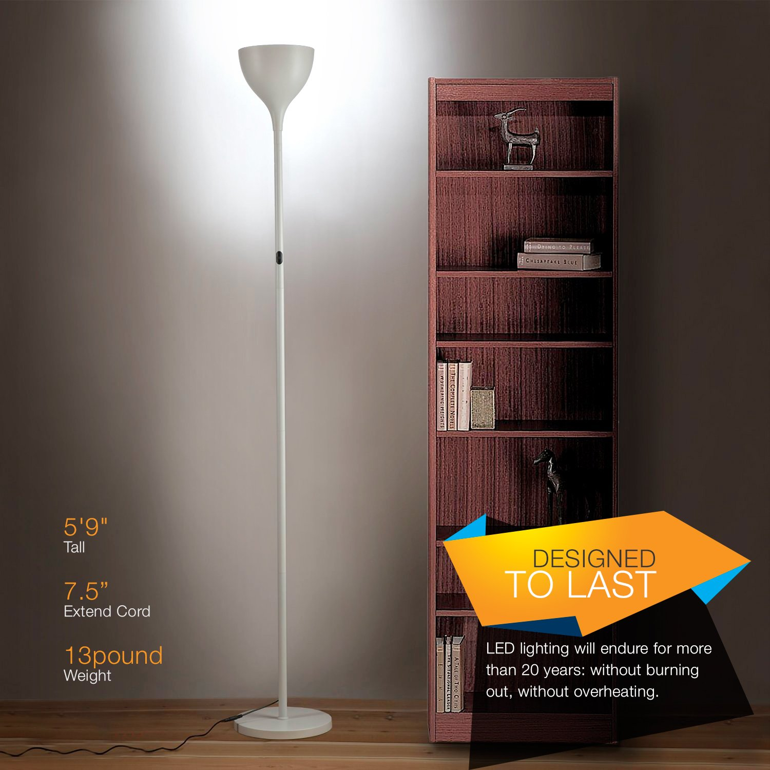 Brightech SKY Elite 2nd Gen LED Torchiere Floor Lamp - Tall Standing Pole Uplight For Living Rooms, Bedrooms; Homes & Offices - Super Bright Dimmable 20-Watt, Warm White Light - Alpine White by Brightech (Image #8)