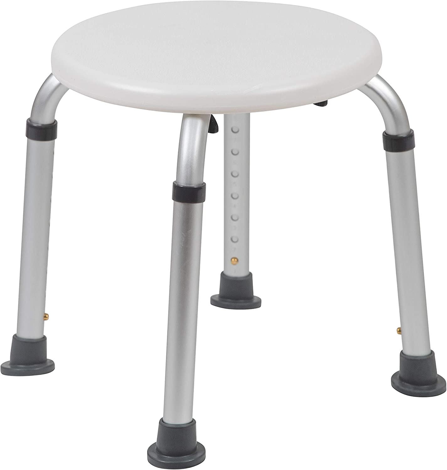 Flash Furniture HERCULES Series Tool-Free and Quick Assembly, 300 Lb. Capacity, Adjustable White Bath & Shower Stool