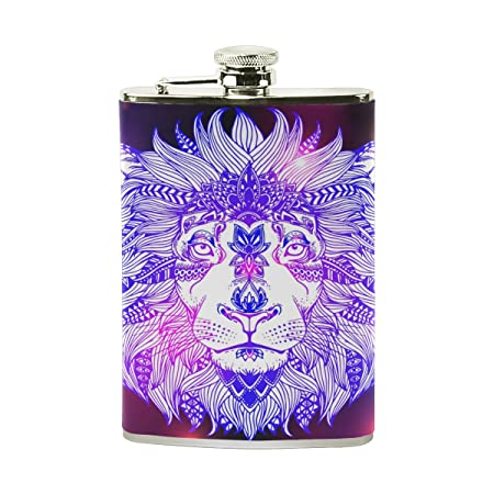Petaca de piel, diseño de galaxia con impresión de león de ...