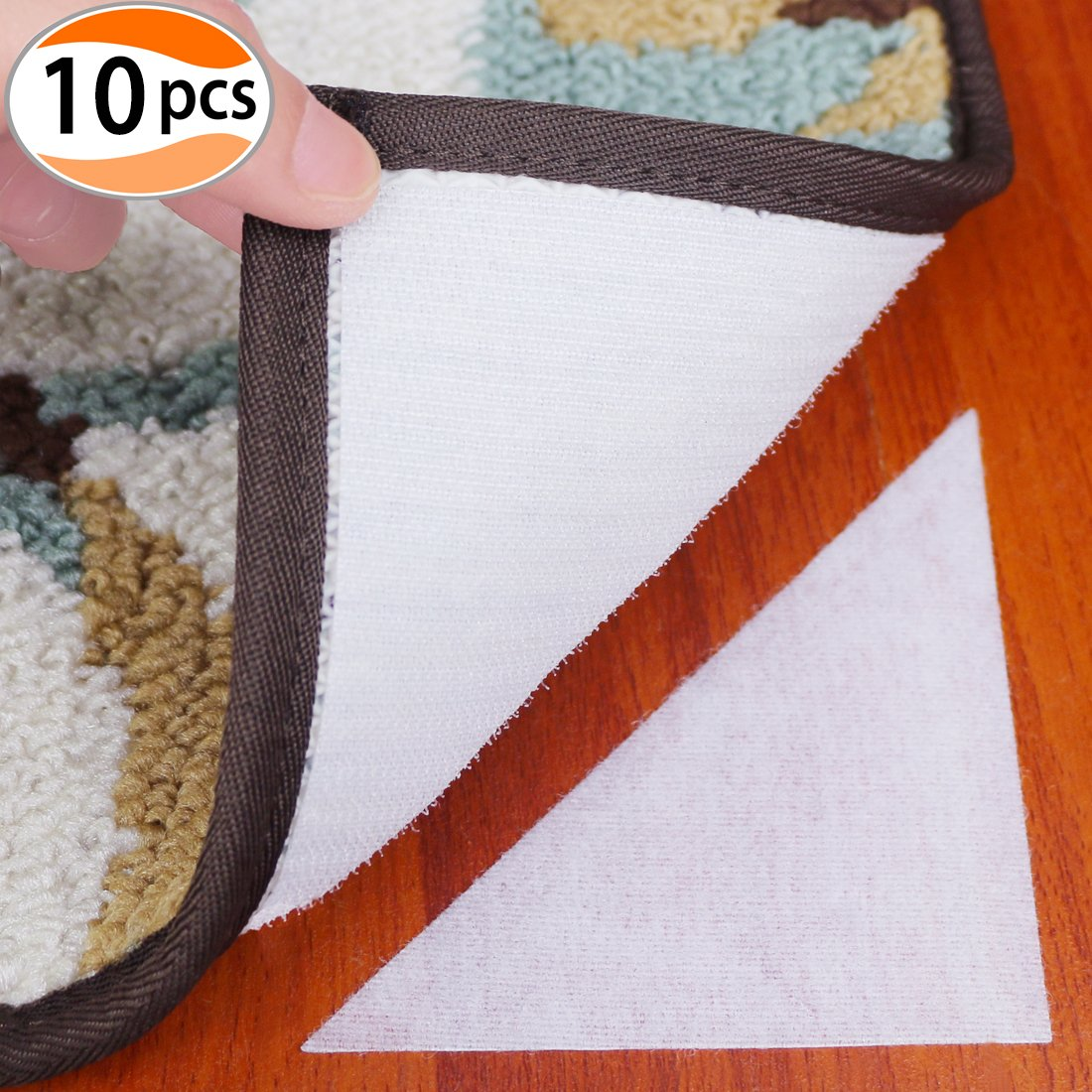 Cefanty Rug Grippers 10 Pack Square Rug Anchors Mat Pads for Carpet with Hook and Loop