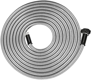 Yanwoo 304 Stainless Steel 15 Feet Garden Hose, Flexible Bathroom Hose, Portable Outdoor Hose