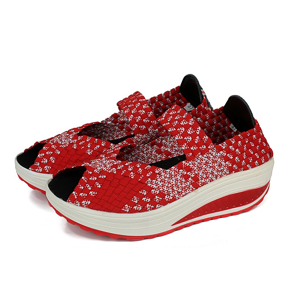 YMY Women's Woven Sneakers Casual Lightweight Shoes Sneakers - Breathable Running Shoes Lightweight B07DXMRZKK EU40/9 B(M) US Women|Red2 106d1a