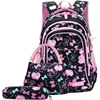 MITOWERMI 3Pcs Bowknot/Cat Print Girls Primary Backpack Bookbag Large Rucksack Kids School Backpack Sets with Lunch bag