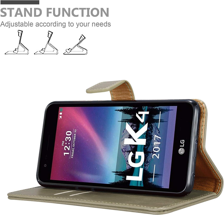 Cadorabo H/ülle f/ür LG K4-2017 Handyh/ülle im Luxury Design mit Kartenfach und Standfunktion Case Cover Schutzh/ülle Etui Tasche Book H/ülle in Cappucino BRAUN