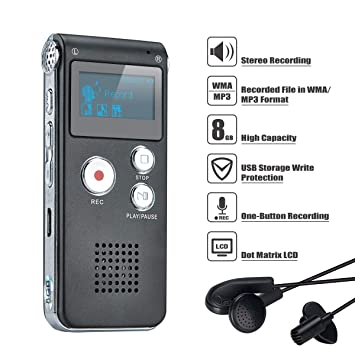 Covvy Grabadora De Voz Digital Portátil Grabadora De Audio Con Sonido Dictáfono Grabadora LCD Reproductor de MP3-8GB (Negro): Amazon.es: Oficina y papelería