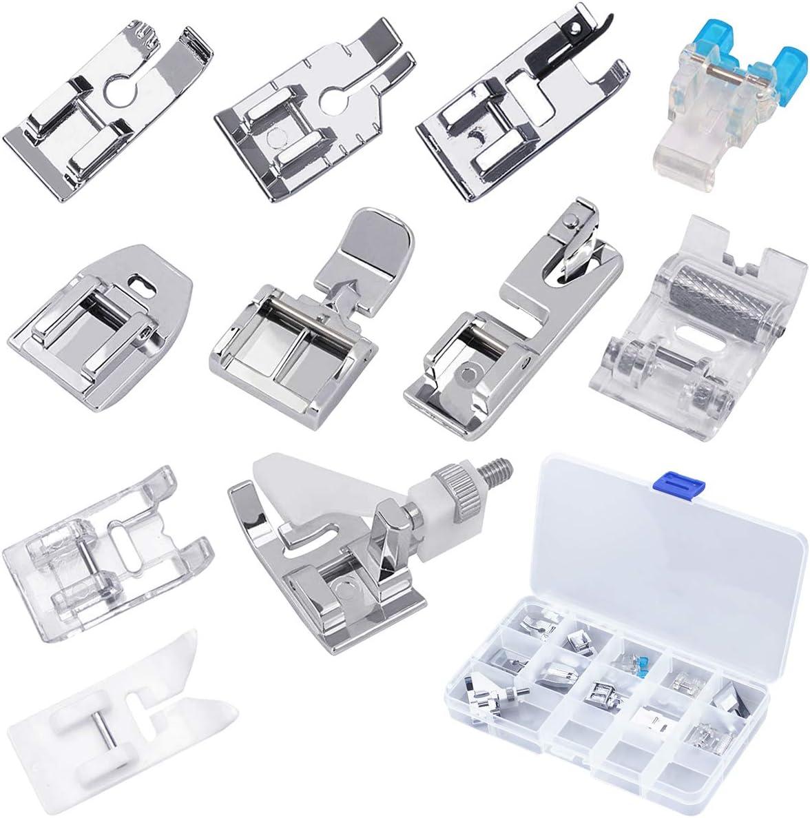 Kit de piezas de repuesto para prensatelas multifunción, Netspower Juego de accesorios para pies prensatelas de 11 piezas Conjunto de accesorios para el hogar de la máquina de coser con caja