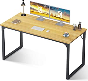 Coleshome Computer Desk 55 inch, Modern Simple Style Desk for Home Office, Sturdy Writing Desk,Light Walnut