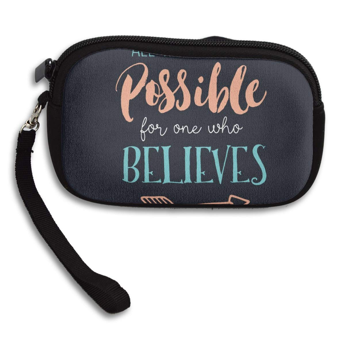 Quotes Inspirational Believes Biblical Coin Pouch Clutch Purse Wristlet Wallet Phone Card Holder Handbag