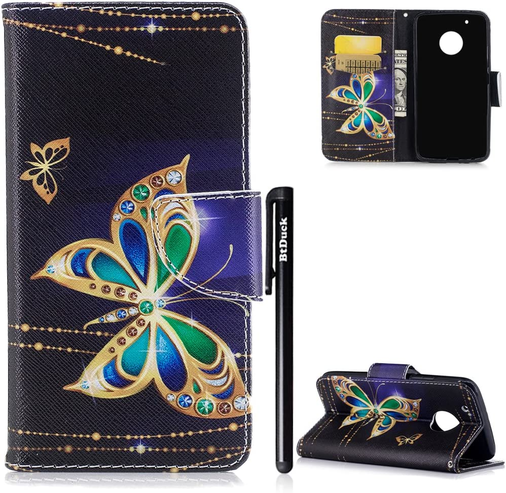 BtDuck Leather Case for Motorola Moto G5 Plus PU Stand Painted pattern Phone Protector PU Leather Flip Folio Cover Anti-slip Skin Outdoor Protection Shockproof Anti-scratch Slim-fit Case Wallet Shell with Stander Oyster ID Card Travel Card Bus Pass Hol