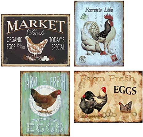 home decor  office restaurant rooster cottage farm country metal tin sign