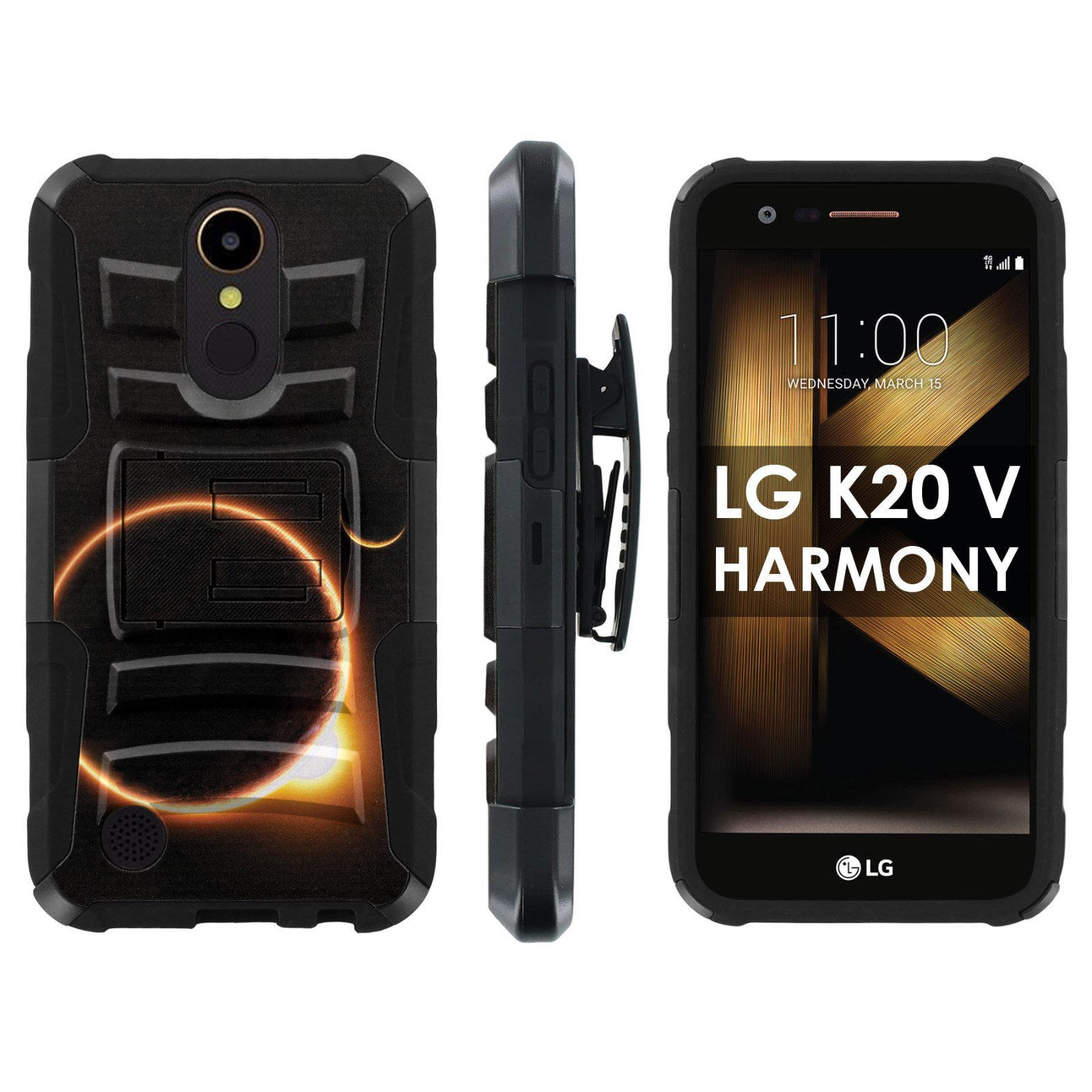 LG [K20 V/ K20 plus] LG Harmony Phone Cover [Mobiflare] [Black/Black] Dual Hybrid Armor Phone Case [Screen Protector INCLUDED] - [Solar Eclipse]