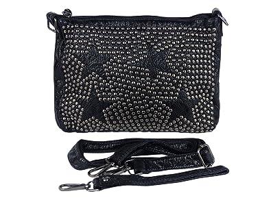 274f656b31405 yourlifeyourstyle Moderne Umhängetasche mit Nieten und Sternen - Maße 29 x  20 cm - Damen Mädchen Teenager Tasche - leicht glänzend (schwarz)   Amazon.de  ...