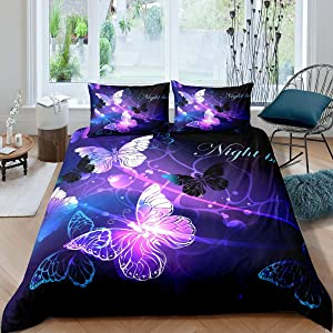 Butterfly Bedding Set, Fantasy Butterflies Fairy Monarch Inspiration Animal Dreamlike Night Garden Theme Comforter Cover, Decorative 3 Piece Duvet Cover With 2 Pillow Shams, Full Size, Teal Purple