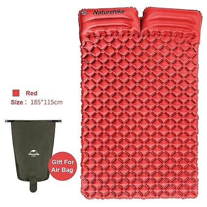 Ultraligero portátil 2 persona alfombrilla de dormir con almohada para acampar al aire libre tienda de
