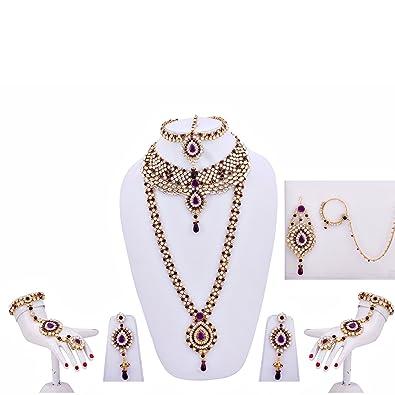 Lucky Jewellery Purple Kundan Big Stone Bridal Wedding Set 9