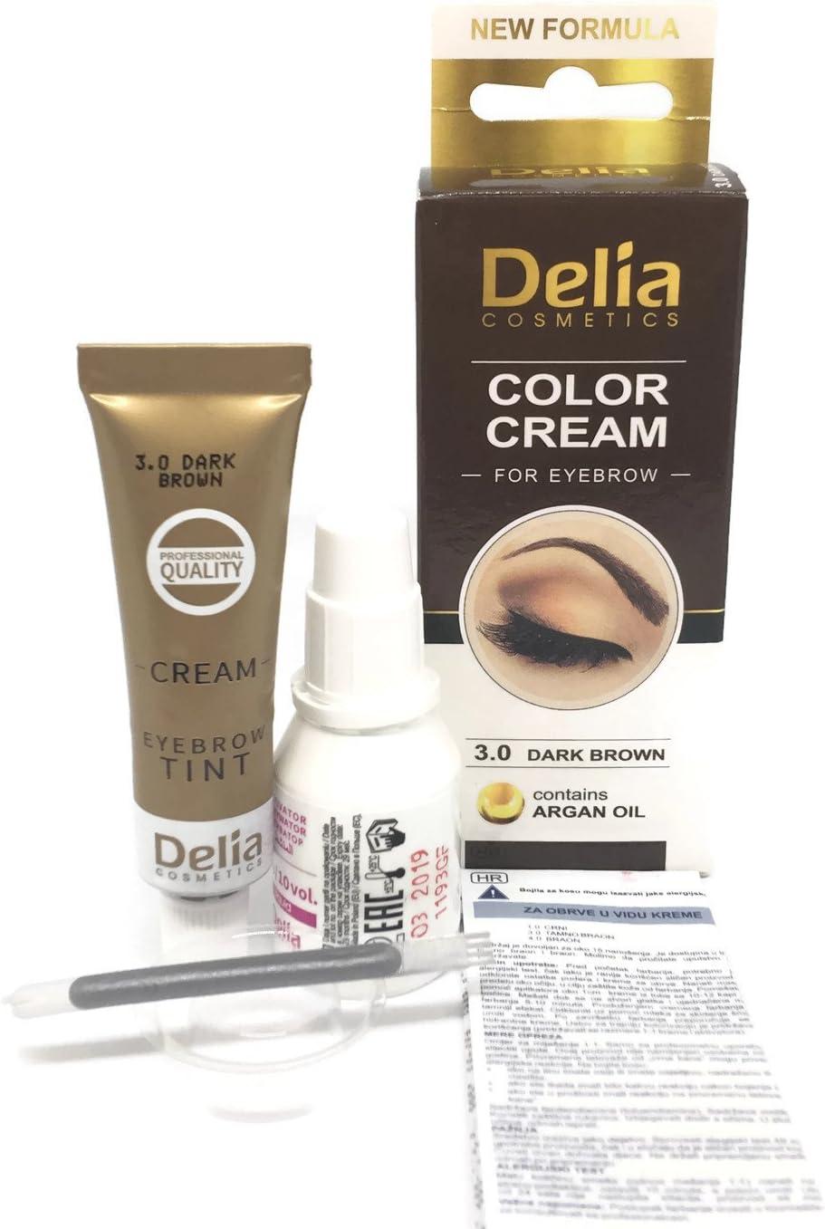 Tinte profesionales para cejas y pestañas profesionales, 15ml KIT Delia Negro/Marrón/Marrón Oscuro (Marron Oscuro)