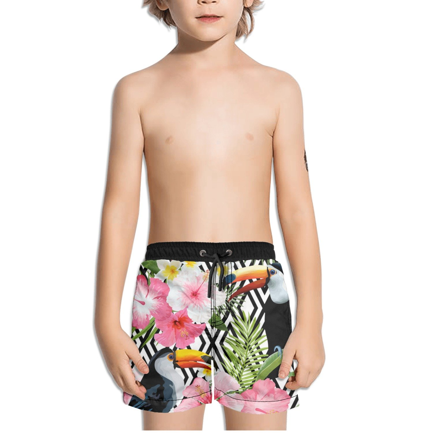 Ouxioaz Boys' Swim Trunk Tropical Birds Flowers Beach Board Shorts