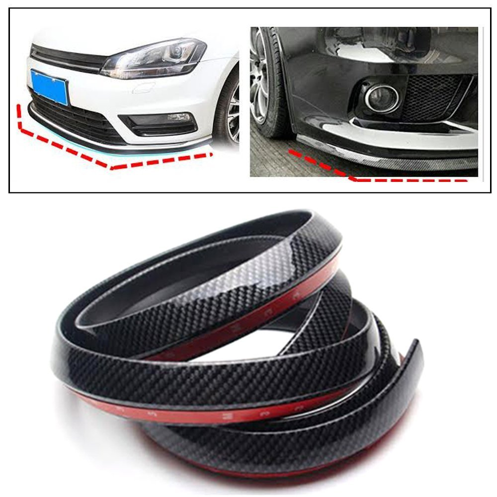 Pr Carbon Finish Front Bumper Lip Stickon Car Body Kit Bumper Lip