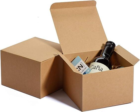 HOUSE DAY Cajas de Kraft 12x12x9cm, Cajas de Regalo de Papel marrón con Tapas, Cajas para Envolver Regalos, Caja de Regalo de Padrinos de Boda, (10PACK): Amazon.es: Hogar