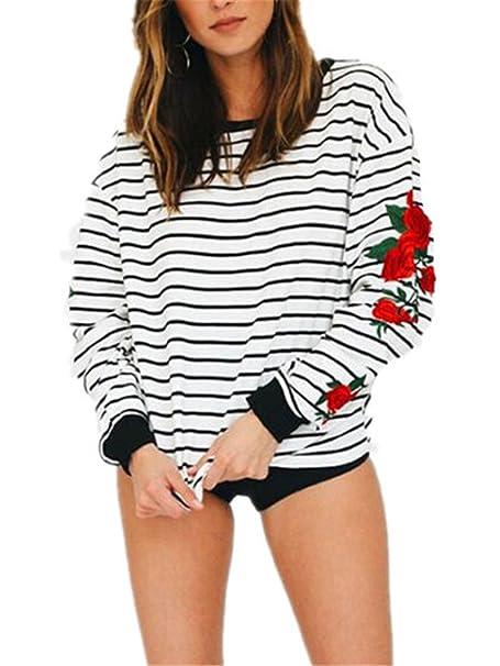 Kerlana Blusa Mujeres Camisas Casual Cuello Redondo Manga Larga Tops Elegante Moda Bordado Camiseta Rayas T