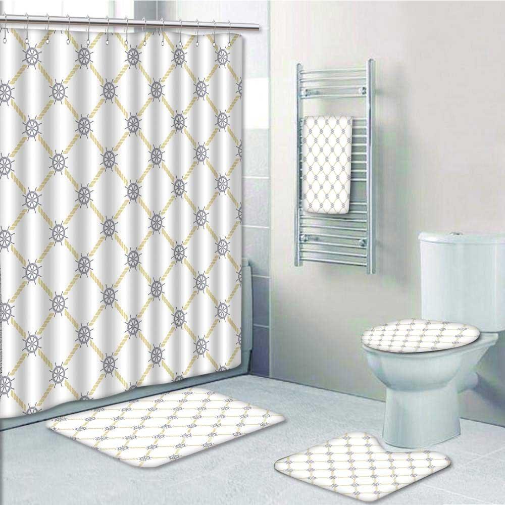 Designer Bath Polyester 5-Piece Bathroom Set, Depicting Ship Helm ...