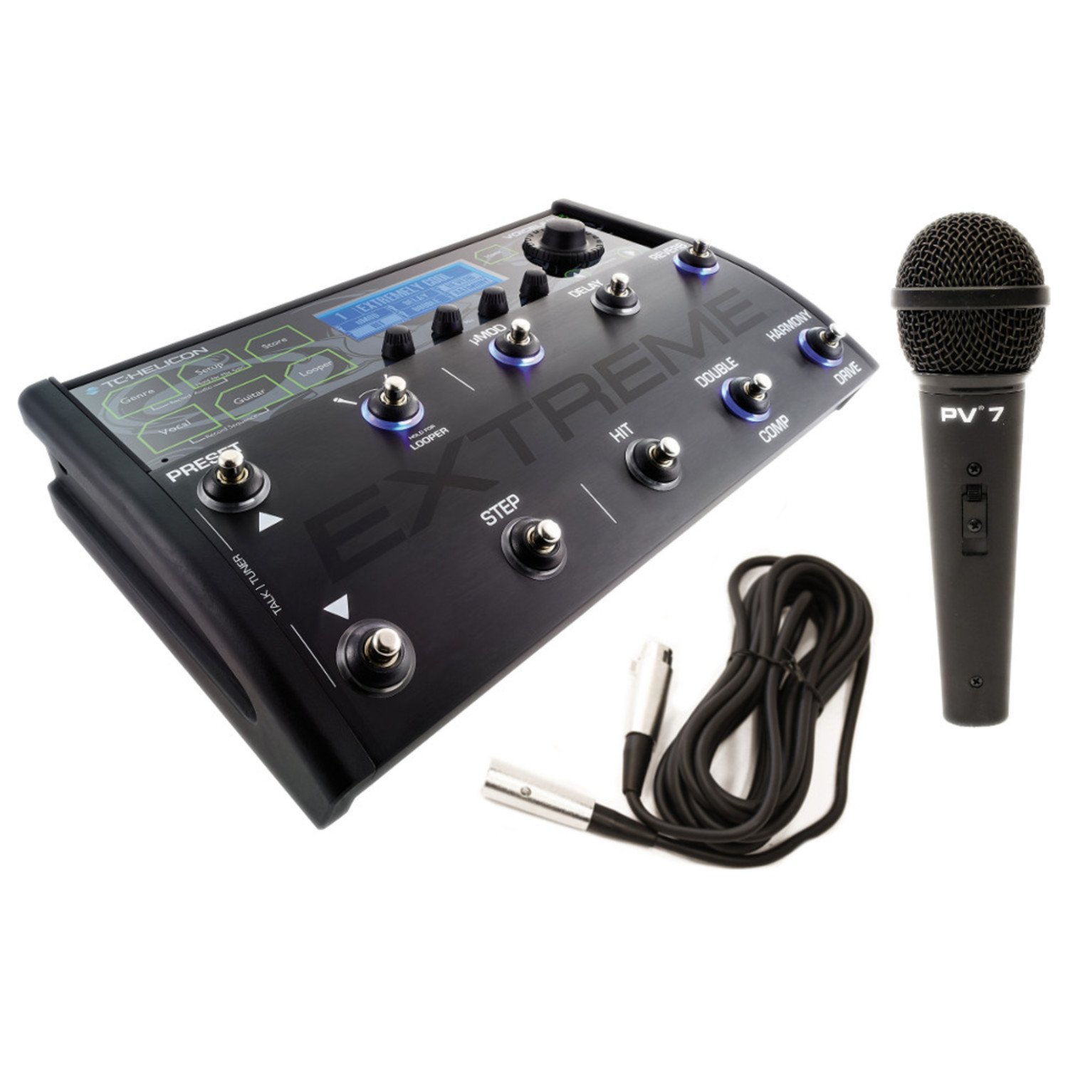 TC Helicon Voicelive 3 Extreme Effects Pedal Board w/ Microphone and XLR Cable