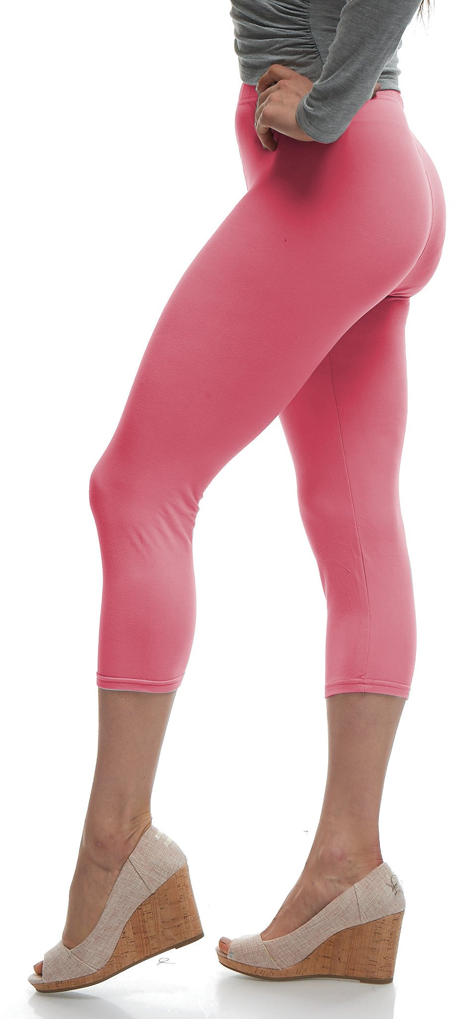 Lush Moda Extra Soft Capri Leggings - Variety of Colors - Mellow Pink, One Size fits Most (XS - XL)