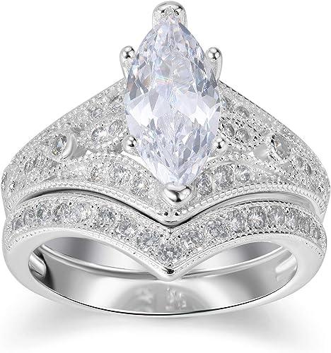 Amazon Com Lateefah Bridal Ring Sets For Women 2 Carat Big