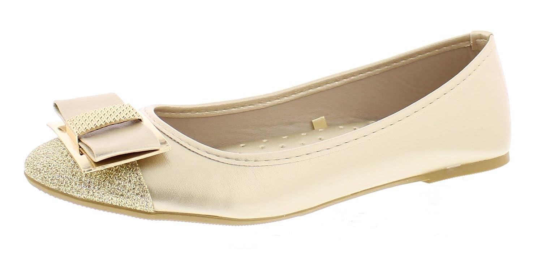 Gold Toe Women's Ursula Shiny Metallic Studded Bow Slip On Ballet Flat Round Toe Dress Flat Pump Shoes B073GN822D 9 B(M) US Gold