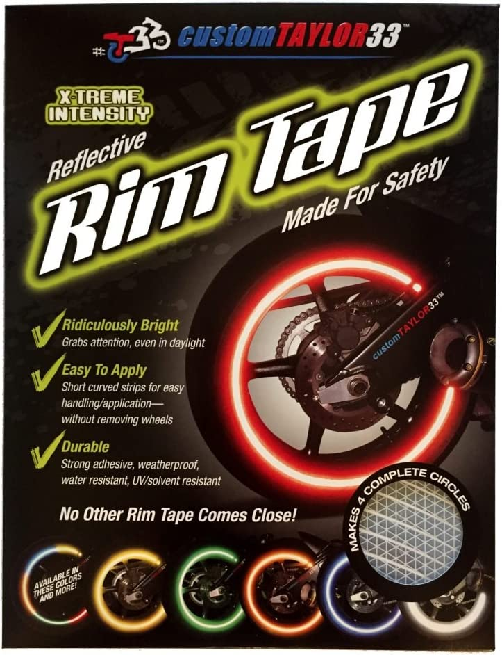 customTAYLOR33 All Vehicles White//Silver//Chrome High Intensity Grade Reflective Safety Rim Tapes 10 Rim Size Must select your rim size