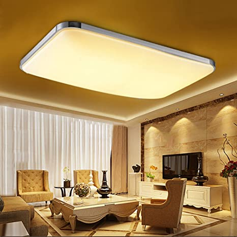 Etime Led Deckenleuchte 48w 65x43cm Deckenlampe Modern Wohnzimmer Lampe Schlafzimmer Kuche Panel Leuchte Silber 65x43cm 48w Warmweiss Amazon De Beleuchtung