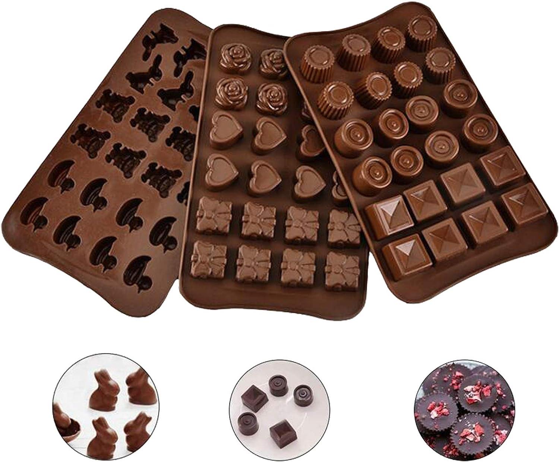 Molde de silicona para chocolate, forma irregular de 24 cavidades, molde para hornear galletas para hornear, fácil de desmoldar, resistencia a altas temperaturas, reutilizable