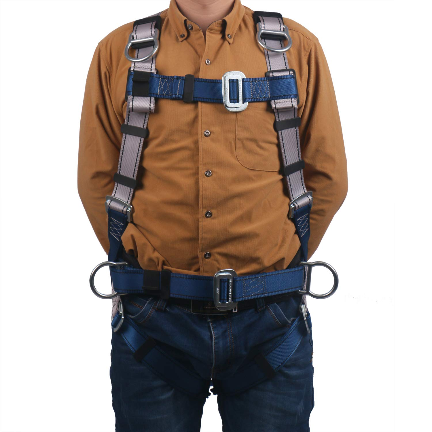JINGYAT Full Body Safety Harness Fall Protection with 5 D-Ring,Universal Personal Protective Equipment (130-310 pound),Construction Industrial Tower Roofing Tool by JINGYAT (Image #5)