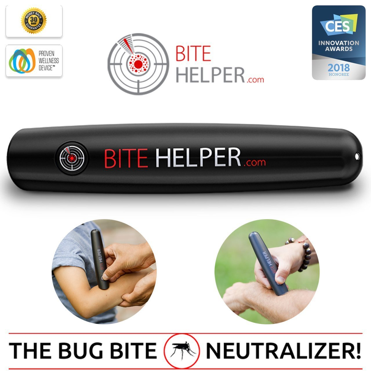 Bite Helper - Bug Bite Itch Neutralizer, Bug Bite Relief Solution for the Entire Family,Black,6.5'' x 1.25''